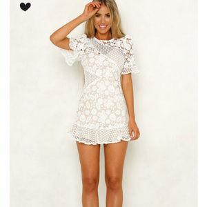 Stelly Dresses - White Lace Mini Dress